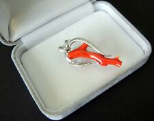 SOLID 18K WHITE GOLD, NATURAL RED CORAL & DIAMOND BROOCH / PENDANT, High Qlity