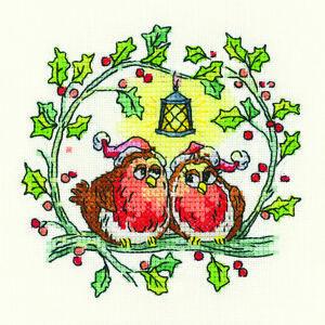 Heritage Crafts Cross Stitch Kit - Christmas Robins
