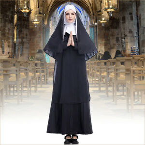 Luxurious Ladies Nun Costume Adults Halloween Religious Fancy Dress Women Outfit