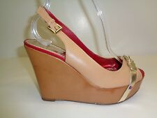 Tommy Hilfiger Size 6.5 M KANDISS Brown Leather Wedge Heels New Womens Shoes