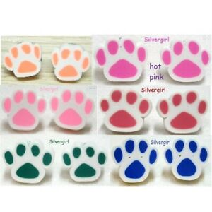 """Pet Paw Polymer Clay Stud Earrings 14mm/1/2"""" plus - 6 colors"""