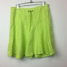 Athleta Women's Lime Green 100% Linen Drawstring Waist A Line Skirt - Size 6