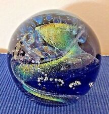 Rollin Karg Hand Blown Glass Dichroic Convex Signed Paperweight 3.5 in diam