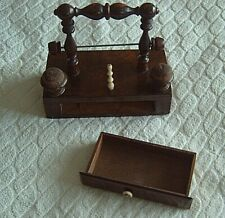 > ANTIQUE SEWING COMPENDIUM & REEL STAND c1820  - ROSEWOOD BASE - 2 PINCUSHIONS