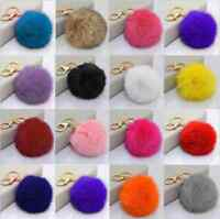 NEW Real Rabbit Fur Ball PomPom Car Phone Keychain Handbag Charm Key Ring U Pick