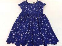 Vince Camuto Royal Blue & White Lace Flowers Floral Dress Womens Size 4 EUC