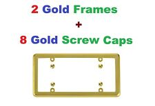 2 Gold Frames + 8 Gold Screw Caps for Cars
