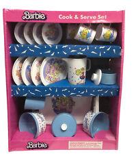Barbie Cook & Serve Set, Blue 20-Piece Tea Party Picnic, NEW IN PLASTIC 1989