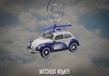 Classic Volkswagen Beetle Custom Christmas Ornament VW Bug w/ Rack Surf Board
