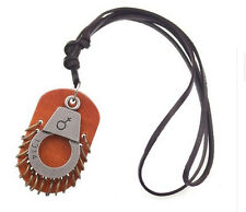Handcuff Necklace Hand Made Leather Style Necklace, Jewl:017