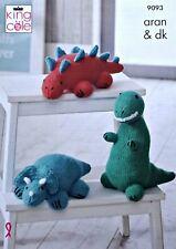 KNITTING PATTERN 3 Styles Dinosaurs Stuffed Toys PATTERN Aran King Cole 9093