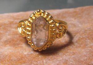 Gold plated brass Herkimer diamond quartz ring UK R 1/2/US 8.75. Gift Bag.