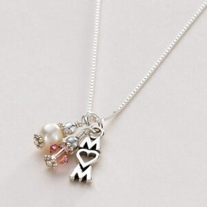 Mum Necklace, Gift for Mum, Sterling Silver Necklace with Birthstone & Pearl