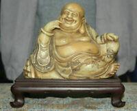 """8,4 """"pierre Shoushan chinois sculpté heureux rire Sculpture de Maitreya Bouddha"""