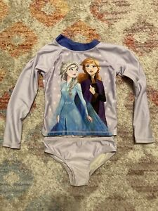 Disney Frozen 2-piece Rash Guard Size 5 Girls Swimsuit