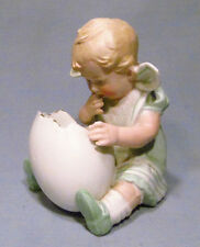 Antique Heubach Germany RARE Bisque Baby Girl Looking into Cracked Egg Figurine