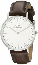 Daniel Wellington Bristol White Dial SS Brown Leather Quartz Mens Watch 0209DW