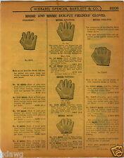 1915 PAPER AD Duk Fut Duck Foot All Finger Wab Baseball Glove Full Web