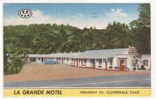La Grande Motel Highway 101 Clovedale California linen postcard