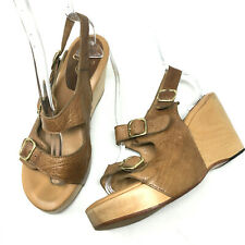 Calleen Cordero Womens Wooden Wedges Brown Leather Open Toe Buckle Shoes Sz 8.5