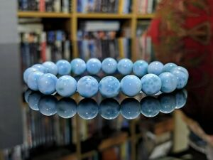 154.9 Cts.100% Natural Larimar (3A+) bead bracelet for Men Stretch 10mm, Dom Rep