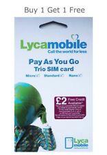 LYCA LYCAMOBILE Pay As You Go SIM Card- PAYG TRIPLE CUT £2 CREDIT