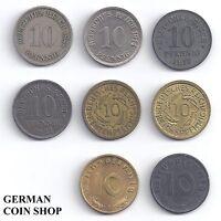 8 x 10 Pfennig - Set aller 10 Pfennig Münzen 1873 - 1945 - Deutsches Reich
