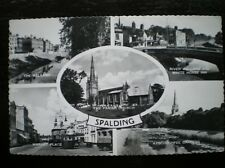 POSTCARD - RP SPALDING 5 MULTI VIEW THE WELLAND / MARKET PLACE / PARISH HURCH /