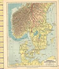 1889 MAP ~ DENMARK & SOUTH SCANDINAVIA PHYSICAL ~ JUTLAND NORWAY SWEDEN