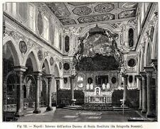 NAPOLI: Basilica di Santa Restituta, Antico Duomo. Naples. + Passepartout. 1896
