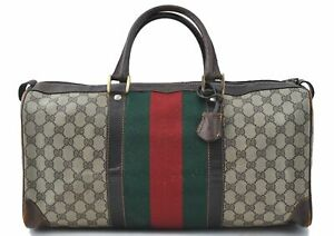 Authentic GUCCI Web Sherry Line Boston Hand Bag GG PVC Leather Brown E1683
