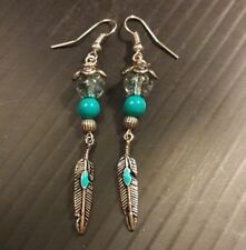 Unique Silver blue feather earrings glass beads handcrafted Christmas Xmas gift