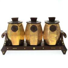 3 Synagogue Brass Tzedakah Charity Boxes Jerusalem 1900