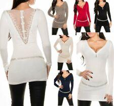SeXy Miss Damen Trendy Long Pulli Pullover Feinstrick Spitze Zip Schleifen XS/S