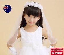 Child Kid Flower Girl Lace Wedding Bride maid Crown Garland Hair Headband Veil