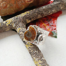 Ammonit FOSSIL & Herkimer diamante, Anello, Ø 18,75 MM, 925 Sterling Argento, Nuovo