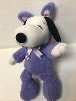 "Hallmark Snoopy 14"" Plush Easter Bunny Purple Costume Peanuts Stuffed Toy Beagle"