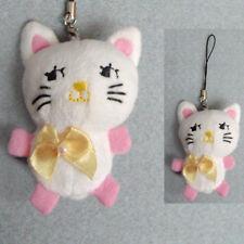 Bijoux de portable chat chaton blanc peluche kawaii noeud papillon satin jaune