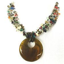 Glass Stone Plastic Necklace 3 Strand Large Pendant Brown Multi Color Statement