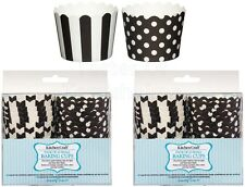 2 Pack of 20 Black & White Spotty & Stripey Cup Cake Baking Cups Cases - 5.5cm