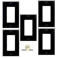5x 1 Gang Standard Decora Wall Plate Cover Switch Outlet Faceplate Modular Black