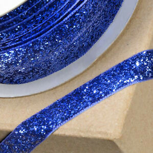 ROYAL BLUE VELVET GLITZY RIBBON 10mm x 10M CRAFT CHRISTMAS CAKE GIFT WRAP