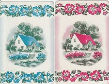 %Vintage Swap/Playing Card - 2 SINGLE - SCENES - PRETTY COTTAGE