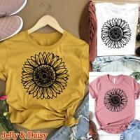Women Ladies Print T Shirt Tops Sunflower Casual Tee Fashion Short Sleeve Blouse