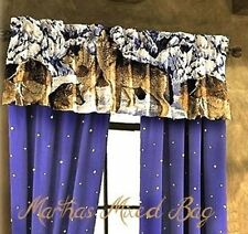 "WOLVES Howling Wildlife WOLF Cabin Lodge Blue WINDOW Treatment VALANCE 20""x84"""