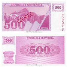 Eslovenia 500 Tolarjev 1990 muestra P-8s1 Billetes Unc