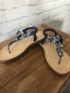 Yours Comfort Size 5/38 Blue Floral Toe Thong Sandals Bnwot