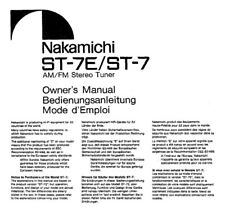 Nakamichi ST-7E ST-7 Tuner Owners Instruction Manual