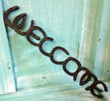 Welcome Horse Shoe Wall Mount Cast Iron Rustic Vintage New Old Fashion 18 1/2x3