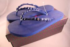 6823a528002d15 NIB Authentic TORY BURCH Jeweled Flip Flop in Royal Navy Sz 8  75